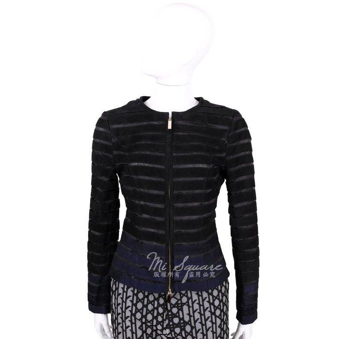 米蘭廣場 CLASS roberto cavalli 黑x藍色條紋麂皮拼接拉鍊外套 1520583-80