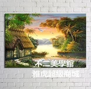 【格倫雅】^陽光明媚的早晨 客廳現代無框掛 裝飾畫 油畫 山水畫 風景畫 國畫4454
