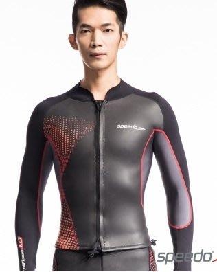 ~有氧小舖~speedo長袖外套式三鐵防寒衣 防曬衣 潛水衣開放性領域 1mm 黑-紅 SPF50 現貨