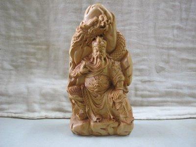 二手舖 NO.2285 天然原木柚木雕刻 武聖關公 關羽 桌上擺件