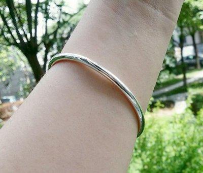 嗨,寶貝銀飾珠寶* 925純銀☆999純銀 時尚精品 簡約 混搭 4mm光面實心純銀手環 手鐲