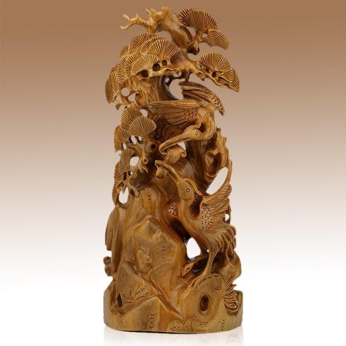 雅軒齋 紅木工藝品 木雕刻風水擺件 綠檀木松鶴延年 商務生日禮品