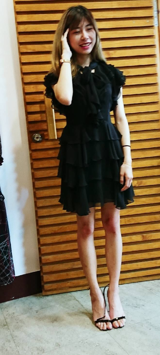 Shadowsui短袖日本雪紡階層洋裝洋裝-短袖(黑色)