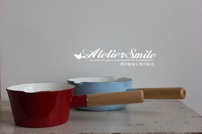 [ Atelier Smile ] 鄉村雜貨 復古作舊 實木手柄 搪瓷雪平鍋 煮面鍋 沙拉碗 水舀 (現+預)