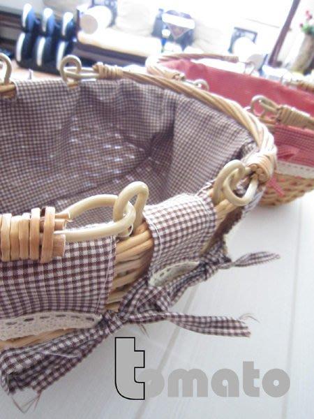 ˙TOMATO生活雜鋪˙日本進口雜貨咖啡紅格紋蝴蝶結蕾絲雙提把藤籃(大款)