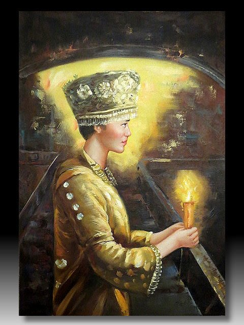 【 金王記拍寶網 】U1198  中國近代油畫名家 李自健款 手繪油畫原作  人物圖  油畫一張 罕見 稀少 藝術無價~