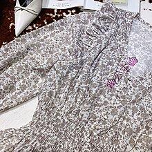 ♥公主高端♥歐單Maj*同款 優雅 甜美印花 V領 荷葉滾邊 修身收腰 連身裙 洋裝 情人節