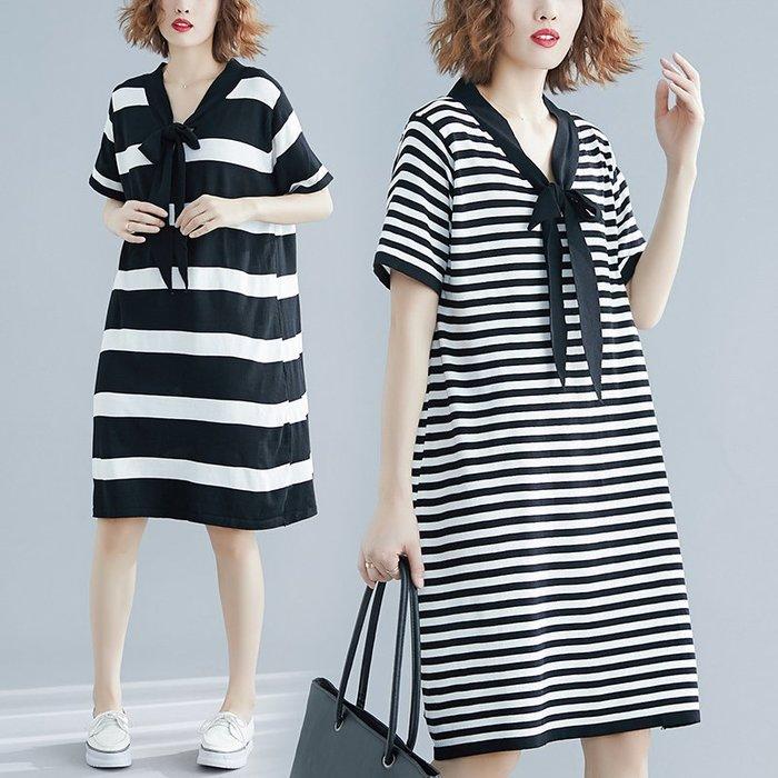 [C.M.平價精品館]L、XL/隨興舒適黑白條紋蝴蝶結領飾短袖洋裝