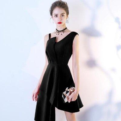 洋裝 小禮服小晚禮服女新款夏季宴會聚會生日派對連身裙黑色短款顯瘦—莎芭