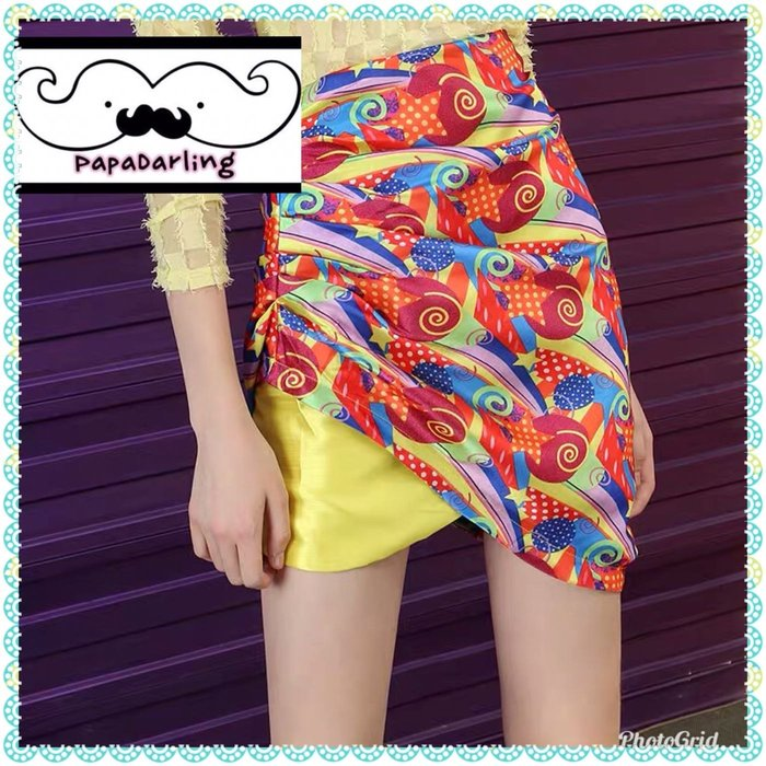 PapaDarling 19SS 時尚高腰不規則設計包臀 短裙 及膝裙