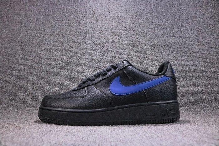 Nike Air Force 1 Black Leather Vlone  黑藍 經典 皮革 休閒滑板鞋 男鞋 AA4083-003