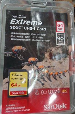 好市多代購 SANDISK EXTREME SD CARD 64GB UHS-1 V30記憶卡4K