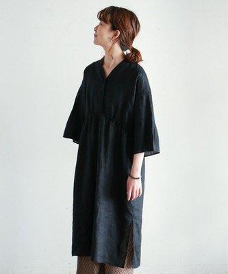 The Dood Life 日本 NOMBRE IMPAIR / 光澤質感黑 六分喇叭袖 亞麻長袍式罩衫 洋裝