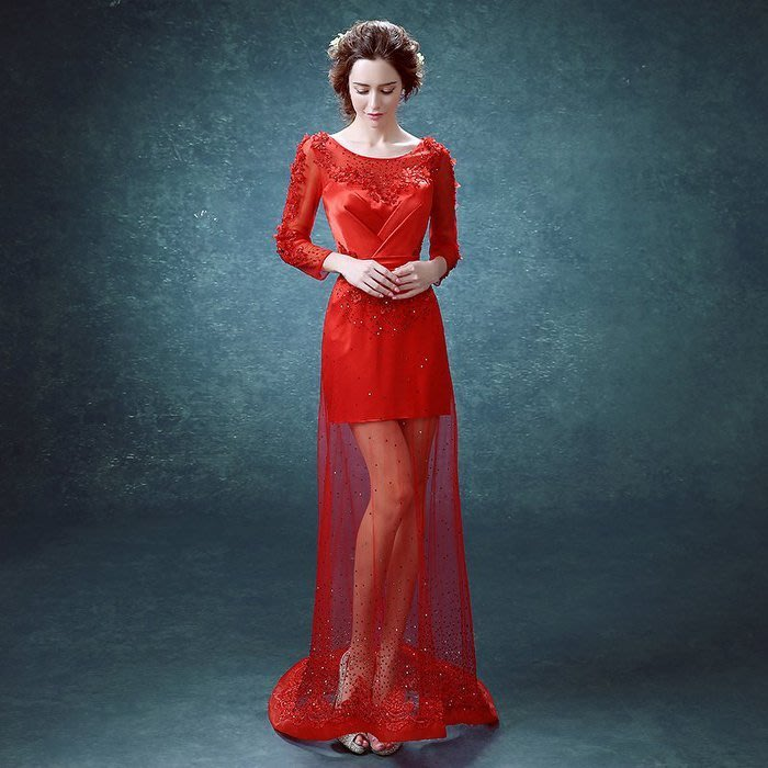大小姐時尚精品屋~~新娘結婚訂婚晚宴長禮服~~3件免郵