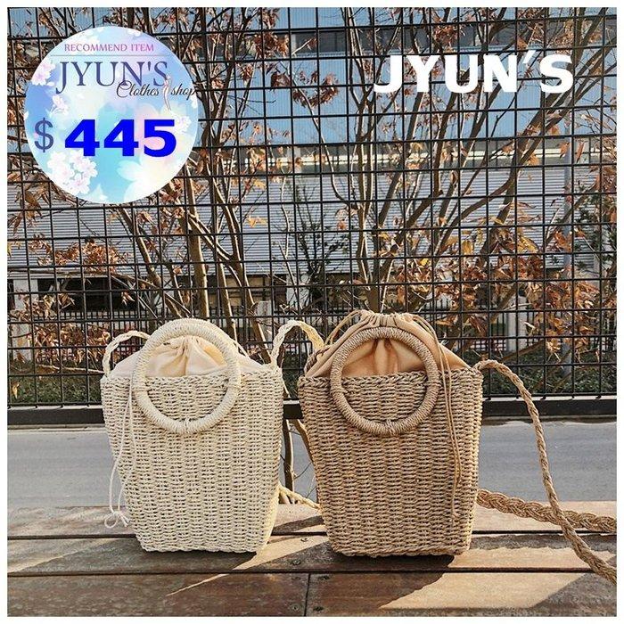 JYUN'S 春夏新款純手工草編小包包仙女款森系編織包水桶包單肩包斜挎包沙灘包斜背包2色 預購