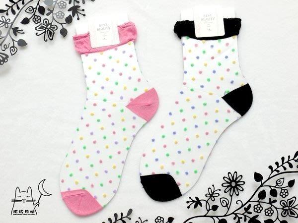 【拓拔月坊】日本知名品牌 Best Beauty 彩色水玉點點 紗質短襪 日本製~現貨!