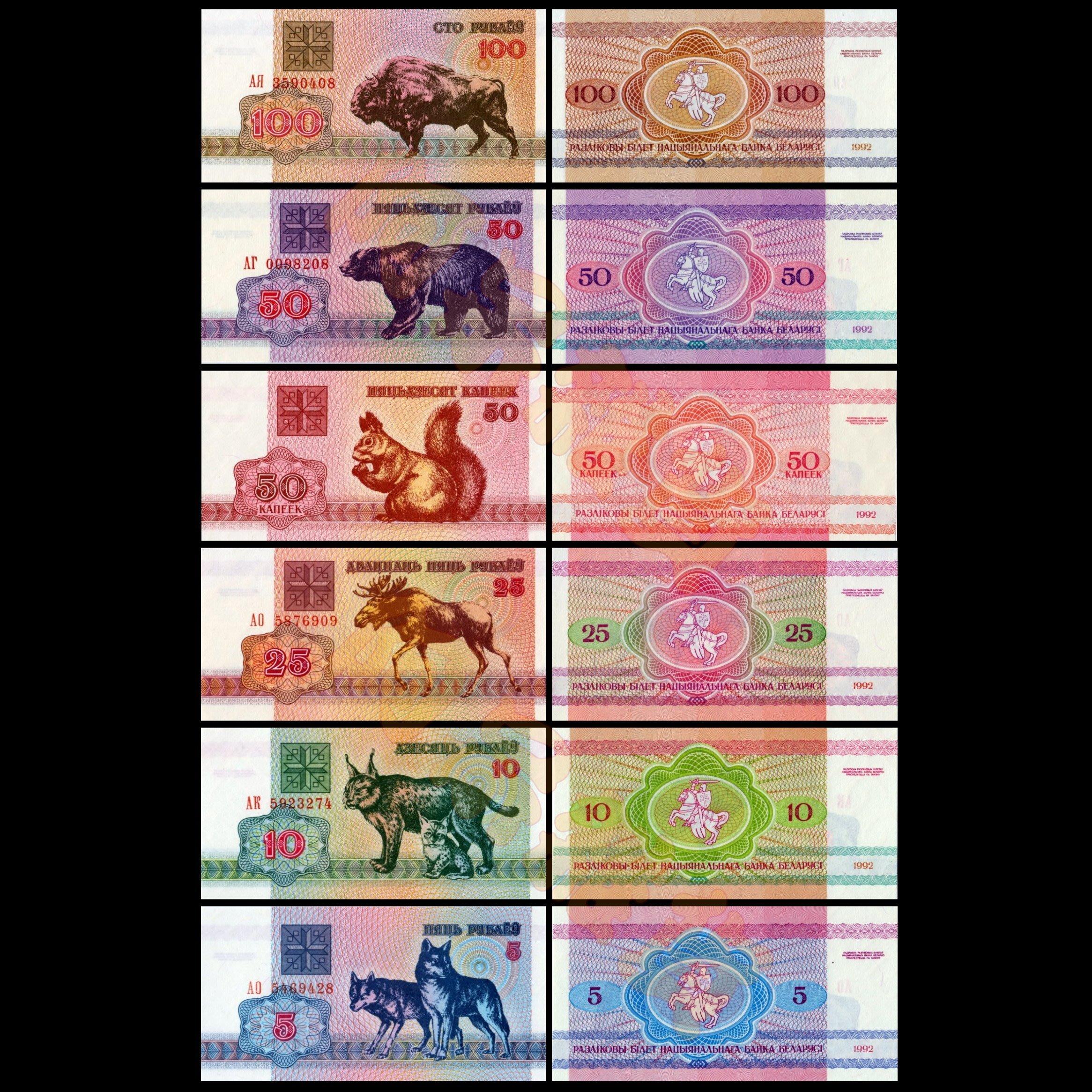 森羅本舖 現貨實拍 小票幅 6張一套 白俄羅斯 動物系列 鈔票 紙鈔 松鼠 羊 牛 熊 歐亞猞猁 野狼