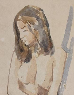 鳳崗文創---{繪畫360}------席德進---裸女---紙質老脆---畫心尺寸約29*46cm