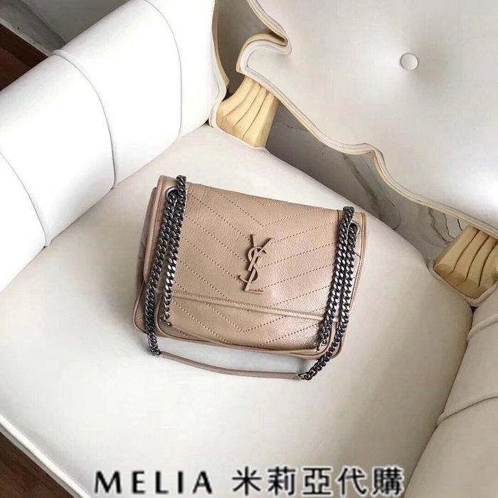 Melia 米莉亞代購 歐洲代購 Saint Laurent YSL 18ss 8月新品 復古鍊條皺褶包 MIN包 杏色
