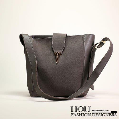 *UOU精品*韓國時尚款 包中包仿麂皮拼接皮革簡約素面氣質穿孔子母包水桶包 包包 ‧3色【K025】