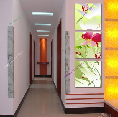【40*40cm】【厚2.5cm】紅花綠葉-無框畫裝飾畫版畫客廳簡約家居餐廳臥室牆壁【280101_301】(1套價格)