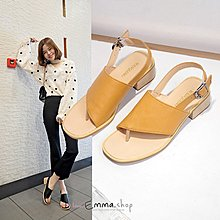 🌸EmmaShop艾購物-正韓國熱銷款復古寬版粗跟涼鞋/低跟/大尺碼到26/42號