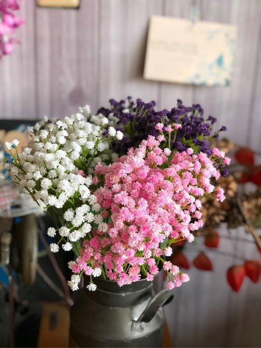 超美 滿天星 七叉 紫色 粉紅 白色 捧花 仿真花 假花 塑膠花 假滿天星 植物 插花 花木馬 綠化 小花 婚禮佈置