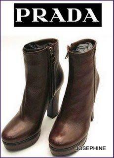 喬瑟芬【PRADA】特價$20800含運~摩卡色鹿皮革踝/短靴(EU37.5/38.5)~全新真品!