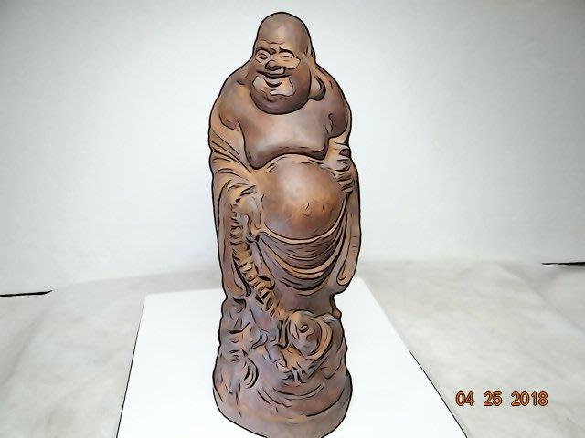 天然 越南沉香木  精雕 彌勒佛  高23cm 擺件