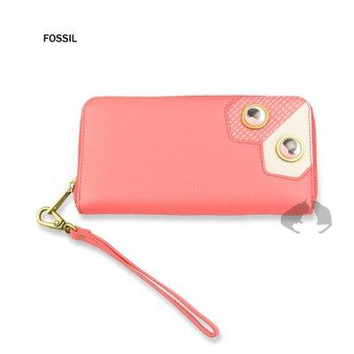 FOSSIL Emma 眼睛造型款 螢光珊瑚紅真皮RFID拉鍊長夾 正品全新現貨-阿法.伊恩納斯 美國品牌