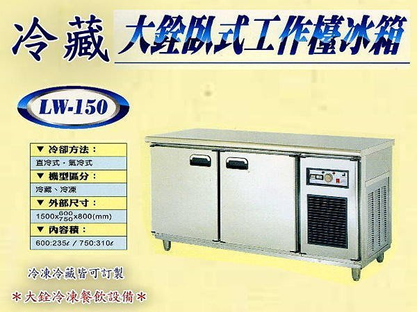 *大銓冷凍餐飲設備*【全新】冷藏5尺工作台冰箱/台灣生產/臥式冰箱/冷藏櫃/吧台