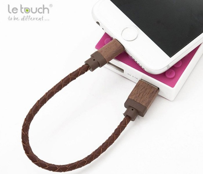 蘋果MFI 原廠認證 原廠傳輸線 Lightning 8pin USB 20cm 北美胡桃木 真皮 BV編織線 行動電源