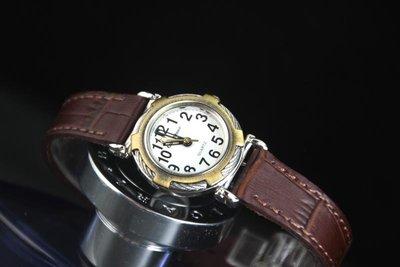 台灣品牌glad stone防水石英錶特殊鋼絲造型表框; 咖啡色錶帶,阿拉伯數字日本星晨miyota 2035石英機心