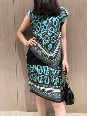 《巴黎拜金女》經典印花不規則設計真絲T卹搭配針織拼接真絲半裙套裝