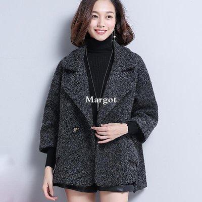 [Margot]2018秋裝新款中年毛呢外套女春秋韓版大碼寬松斗篷型外套呢子大衣