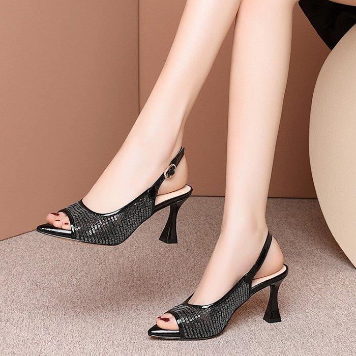 H.G.M 真皮 2020夏新款歐美鏤空網紗小碼33魚嘴涼鞋女尖頭粗跟時尚亮片高跟鞋 HKA 048