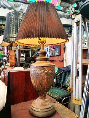 {Ruminant慕名古物} 古董圖騰老銅大型檯燈78cm