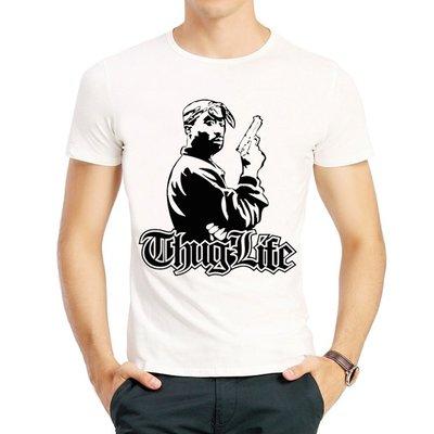 2pac圖帕克T恤vintage Rap人像印花 短袖T恤嘻哈衛衣男純棉寬松