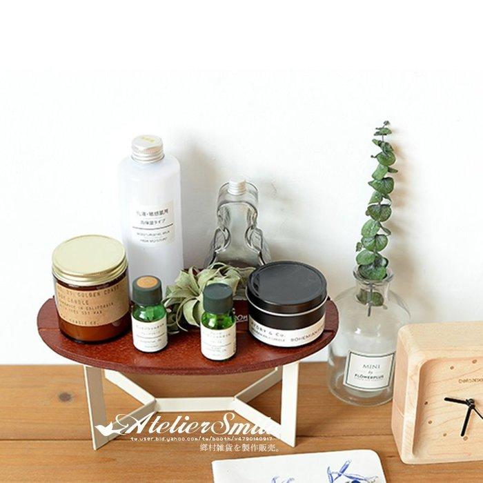 [ Atelier Smile ] 鄉村雜貨  實木橢圓桌面置物架 裝飾花台 小花架 (現+預)