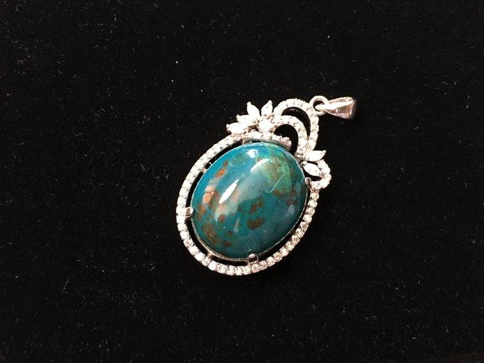 *藏雅軒*天然礦石晶鑽銀白K珠寶飾品-印尼花寶項墜-13.67g