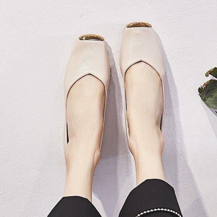 日和生活館 平底單鞋女淺口新款皮帶扣小皮鞋時裝休閒鞋一腳蹬潮 311D88