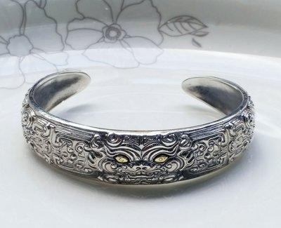嗨,寶貝銀飾珠寶* 925純銀☆925泰銀 泰國工藝 霸氣貔貅男士 開口純銀手環 手鐲