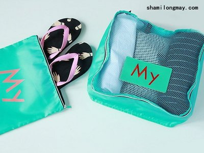 HAPPY+【V5199】日本 韓國 青壹坊新品 糖果色字母收納包套裝 創意旅行 收納袋 衣物整理袋 旅行袋