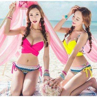 下殺299元 茱麗YA~~~~新款上市~A01韓版民族風綁帶 比基尼 泳裝~多色可挑