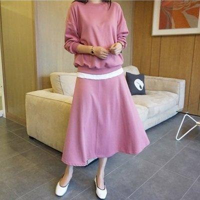 Bellee 正韓 (一套)假兩件長袖棉質上衣+鬆緊A字長裙  套裝   (3色) 【195332】 預購
