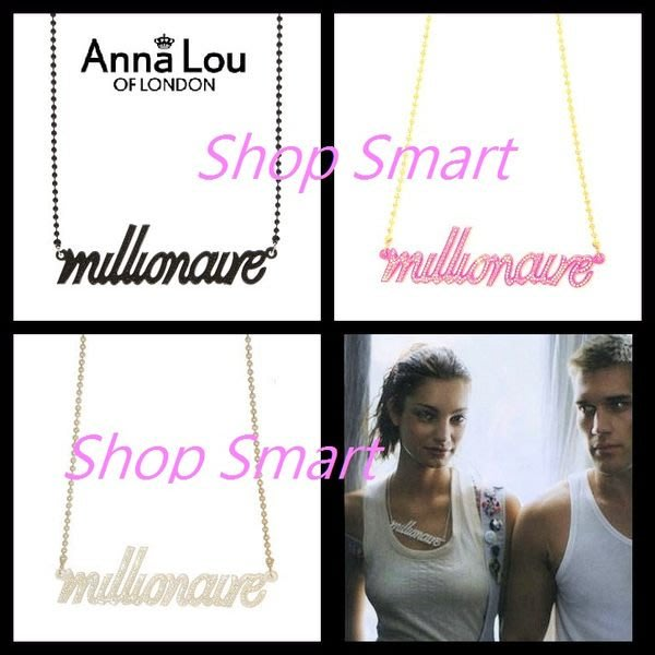 Anna Lou Of London 台北ShopSmart直營店 倫敦品牌 Millionaire百萬巨星水晶項鍊 黑 白 桃紅 不打烊