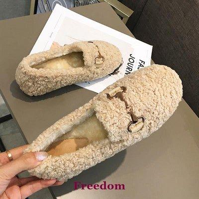Freedom女鞋代購厚底增高毛毛鞋女冬外穿一腳蹬新款加絨瓢鞋懶人羊羔毛豆豆鞋