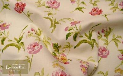 【LondonEYE】SWEETY ROSE'S甜玫瑰進口純棉傢飾布X英國鄉村休閒風X客製窗簾  (粉)