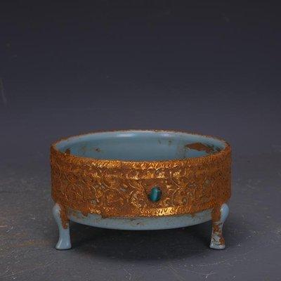 【三顧茅廬】宋代汝窯包金鑲寶石支釘三足香爐洗 文物古瓷器古玩古董收藏