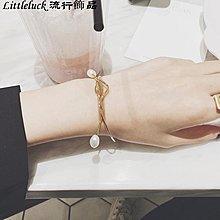 流行飾品Noble Lady 韓國定制款 天然淡水珍珠簡約線條細手鐲 19k金色